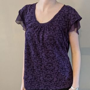 Willi Smith Purple Top with Flutter Sleeve